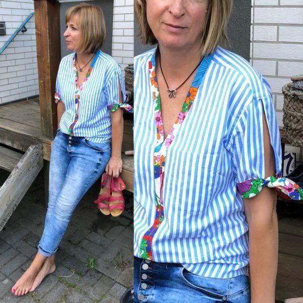 upcycling - Bluse mit Tunikaausschnitt nähen - HANDMADE Kultur #designofblouse