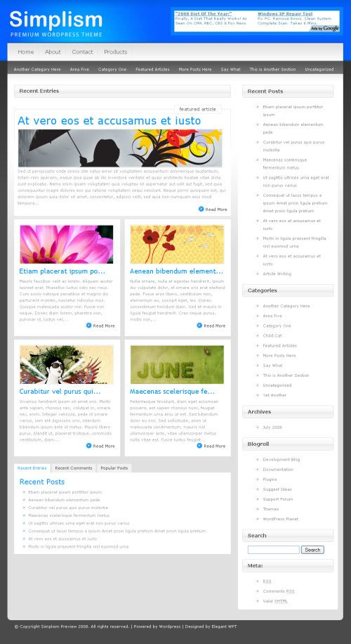 Simplism WordPress Theme designed by ElegantThemes is an advanced wordpress theme including a two-tier dropdown menu for pages/childpages, a home page with a custom index loop including featured posts as well as a jQuery-based tabbed menu box