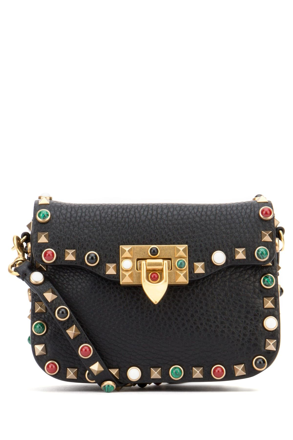 VALENTINO Crossbody bag realized in Alce print calf leather enriched by the  iconic studs and multicolor cabochon stones trimming.