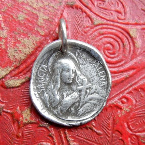d1d7a0cd027 St Mary Magdalen Wax Seal Charm Medal - Patron Saint of Catholic Converts -  Wax Seal Stamp Jewelry
