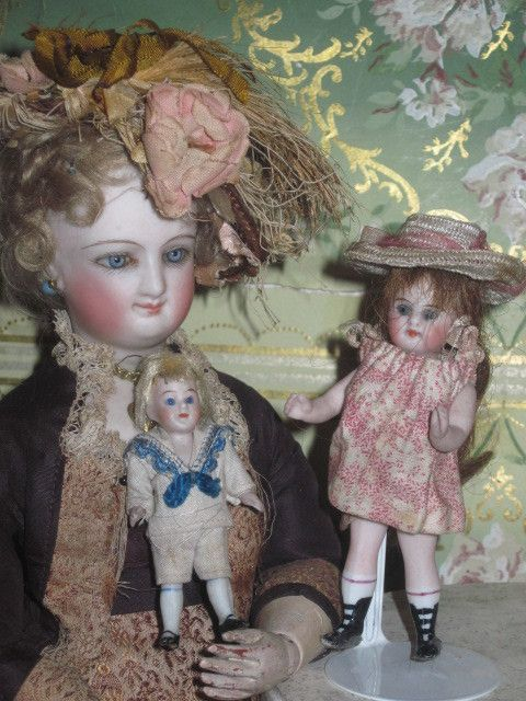 """ADORABLE 2 3/4"""" All Bisque and All Original Glass Eyed SAILOR BOY from doriansroom on Ruby Lane"""