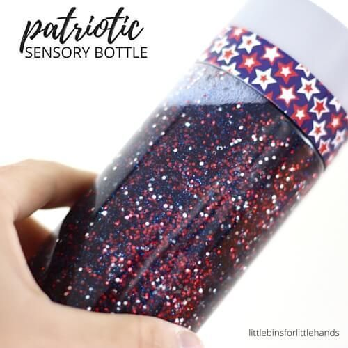 Patriotic Sensory Bottle Memorial Day or 4th of July #patriotsdaycraftsforkids A glittering patriotic sensory bottle any day! Also make this super simple glitter sensory bottle for Memorial Day, 4th of July, or Patriots Day activities. #sensorybottles Patriotic Sensory Bottle Memorial Day or 4th of July #patriotsdaycraftsforkids A glittering patriotic sensory bottle any day! Also make this super simple glitter sensory bottle for Memorial Day, 4th of July, or Patriots Day activities. #patriotsday #sensorybottles