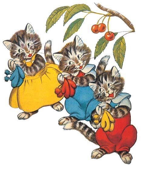 Three Little Kittens Nursery Rhymes Anytime Greeting Cards Cat Art Illustration Cats Illustration Cat Art