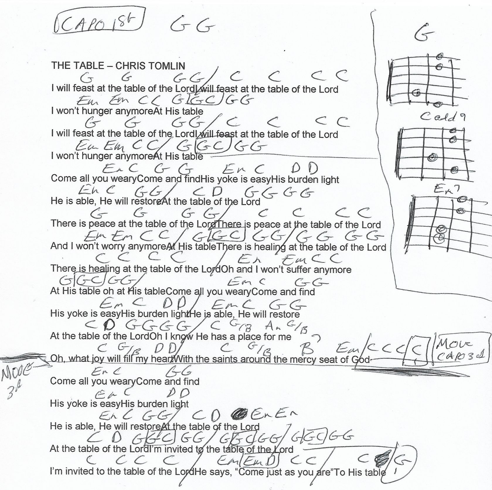 The Table Chris Tomlin Guitar Chord Chart Capo 1st And Later