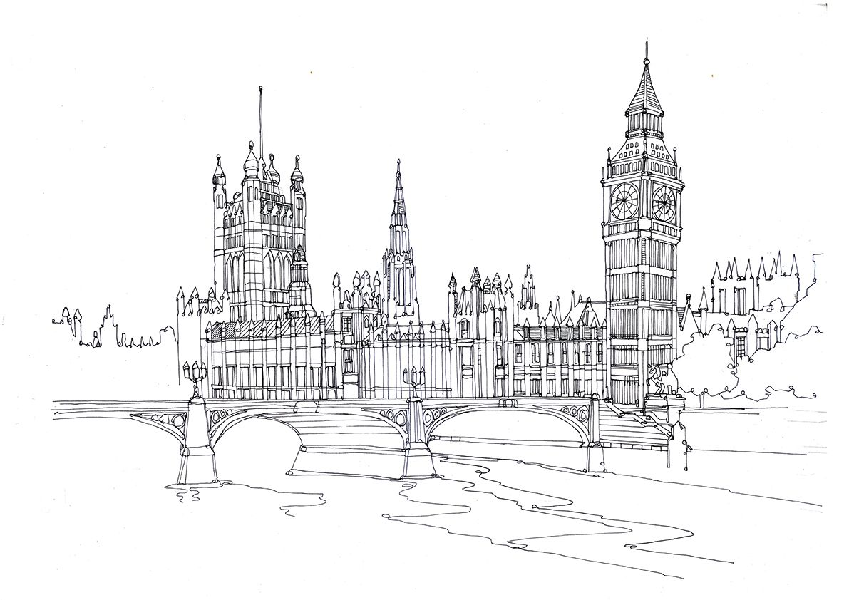 Line Drawing Tattoo London : Houses of parliament london england pen and ink on