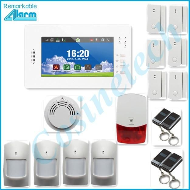 868MHZ Smart home security 7 inch touch screen GSM alarm system