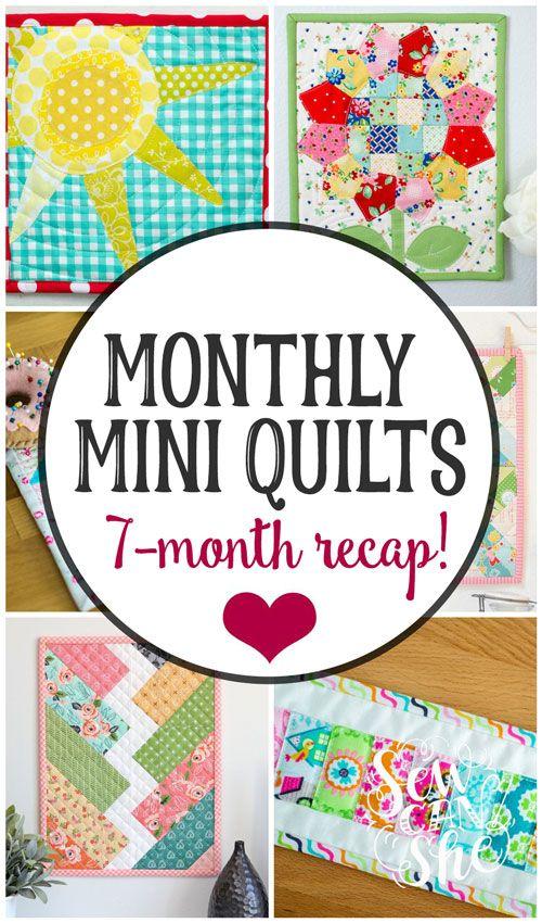 Monthly Mini Quilt Series Recap 7 Free Mini Quilt Patterns