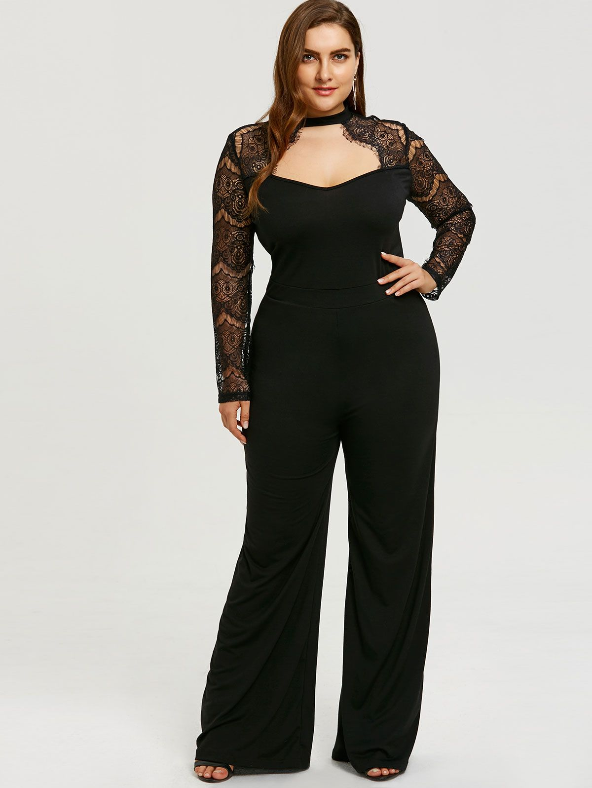 f0053aa5f28 Up to 32% off. Free shipping worldwide.Lace Sleeve Plus Size Cut Out  Jumpsuit. plussize  plussizefashion  spring  springfashion  bottoms   blacklove  womens ...