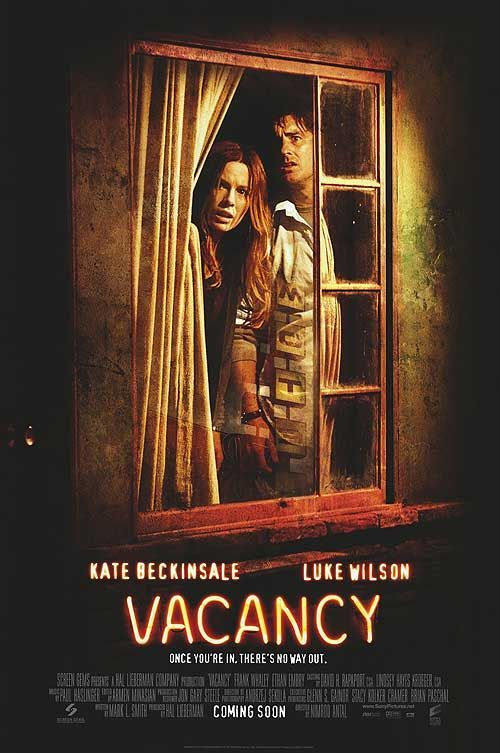 Vacancy , starring Kate Beckinsale, Luke Wilson, Frank Whaley, Ethan Embry. A young married couple becomes stranded at an isolated motel and finds hidden video cameras in their room. They realize that unless they escape, they'll be the next victims of a snuff film #Horror #Thriller