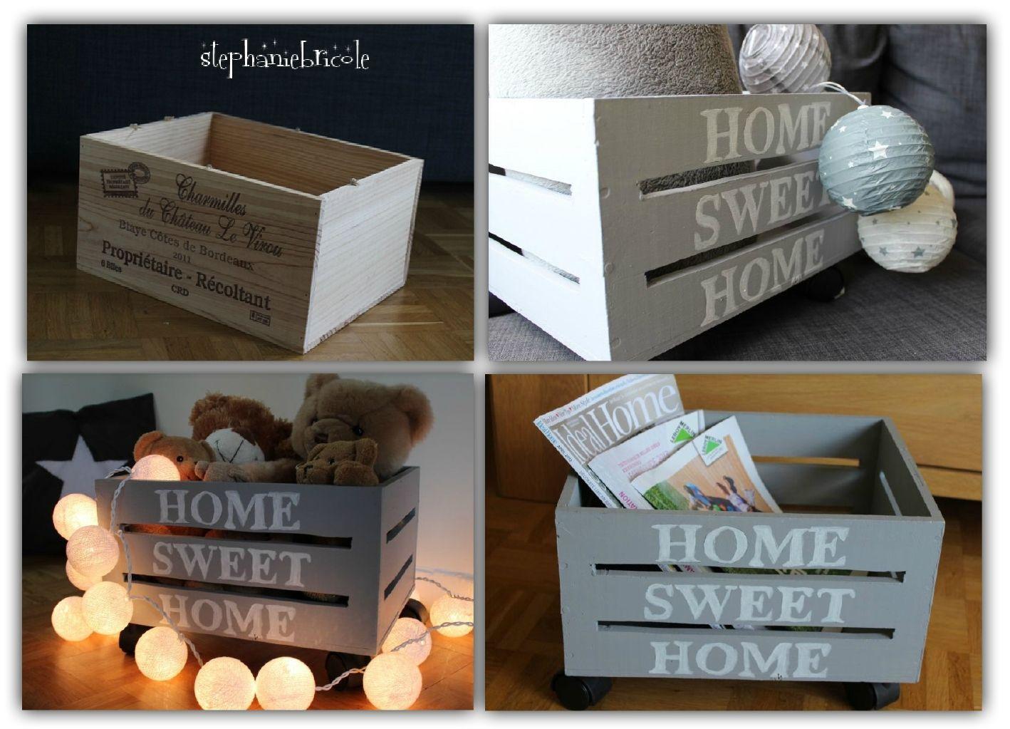 diy transformer une caisse de vin en bois en une caisse ajour e au style vintage rangement. Black Bedroom Furniture Sets. Home Design Ideas