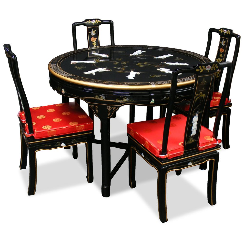 Chinese Lacquered Round Table And Chairs | 48in Black Lacquer Dining Table  With 4 Chairs