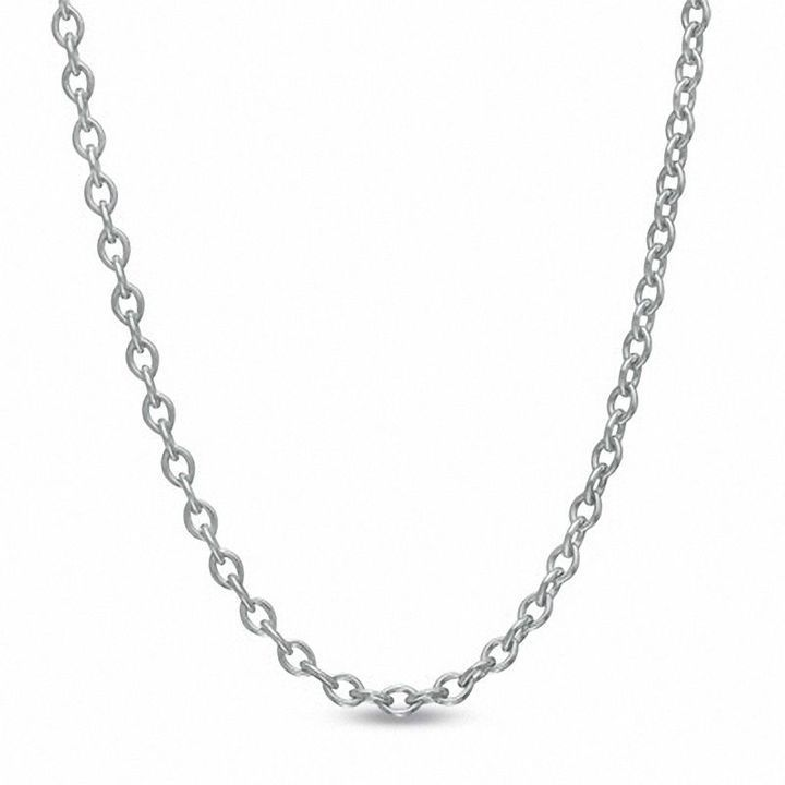 10k White Gold Adjustable Cable Link Chain Necklace, 0.9mm, 22