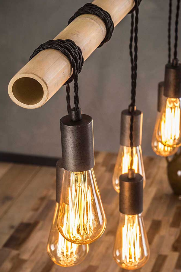 Industriedesign Pendelleuchte Belandro Mit Bambusholz 7 Flammig Lampe Hange Lampe Lichtinstallation