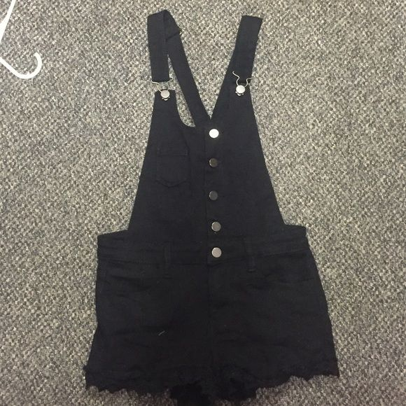 Black jean overalls with crochet trim! Size small Super cute black overall romper with crochet trim! Has only been worn once and in great condition! Other