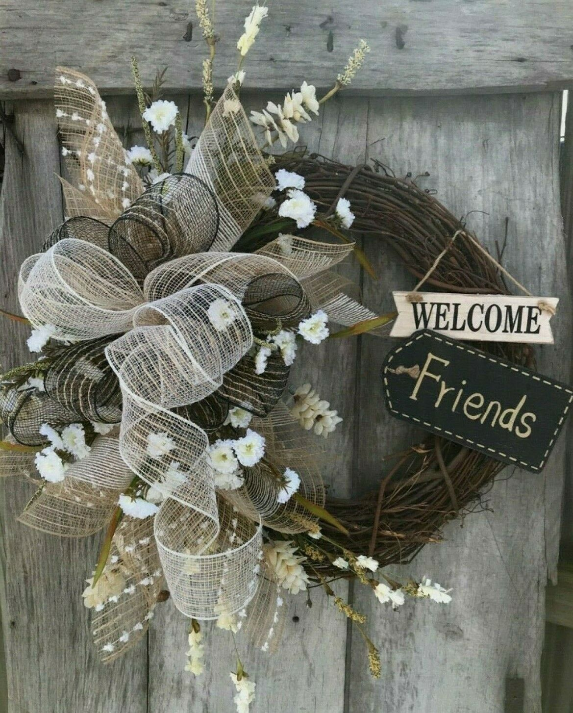 Photo of Welcome friends summer wreaths for front door, decorative net wreath, grapevine, peasant wreath, welcome wreath, summer door decor, wall decor