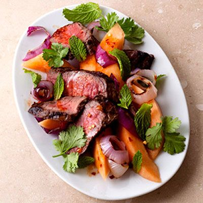 Melon and Steak With Zesty Dressing - 24 Tasty, Low-Sodium Recipes for Every Meal - Health Mobile+