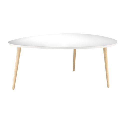 Pisa sofabord - 80 x 110 cm - Hvid/eg Flot dråbeformet design i ...