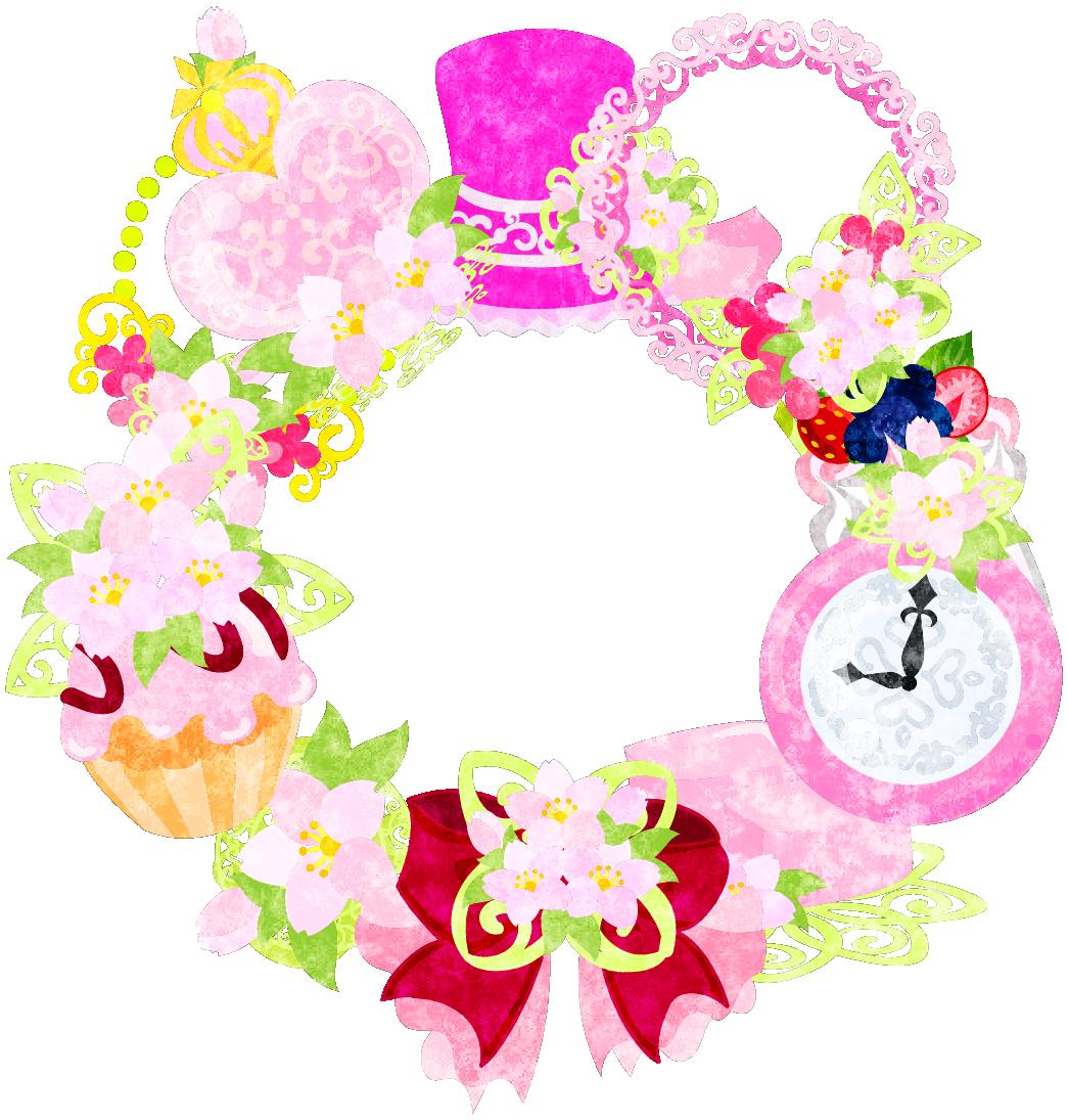 フリーイラスト素材「桜の雑貨で作られたリース」 free illustration