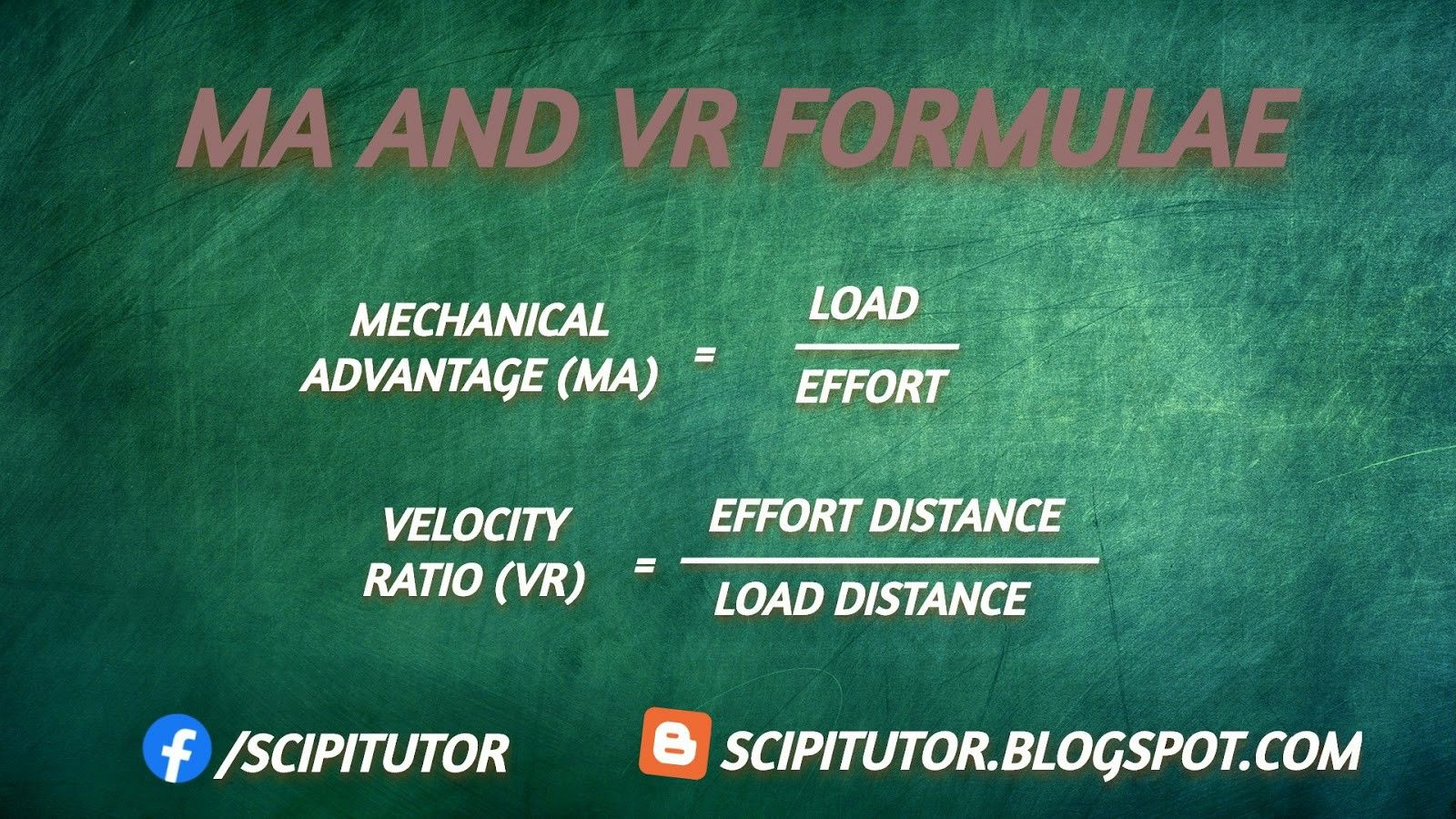 Ma And Vr Formulae In