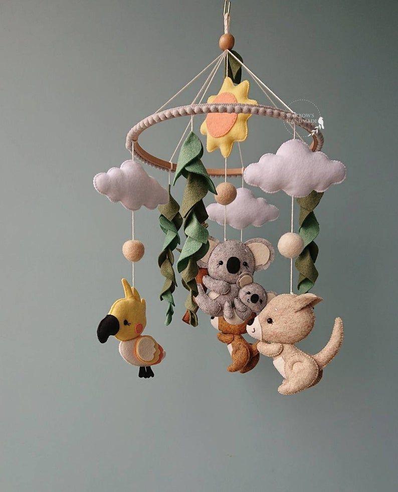 Koala baby mobile Australian animals mobile nature nursery decor bird crib mobile girl unisex mobile eco baby toys newborn gift