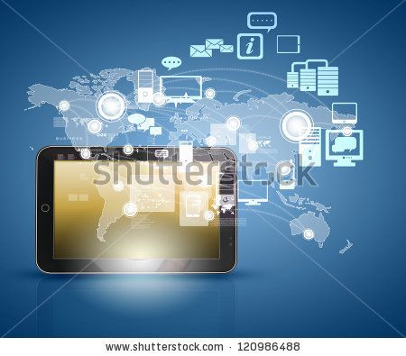 Modern Communication Technology Illustration With Mobile Phone And High Tech Background Stock Photo Tech Background Cloud Based Technology