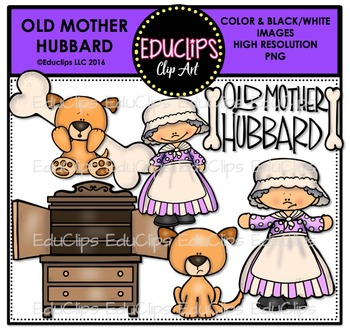 Old Mother Hubbard Nursery Rhyme Clip Art Bundle Educlips Clipart Old Mother Hubbard Art Bundle Old Mother