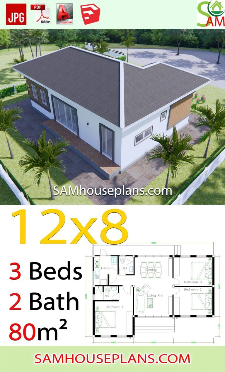 House Plans 12x8 With 3 Bedrooms Hip Roof Sam House Plans In 2020 House Plans House Plan Gallery Sims House Plans