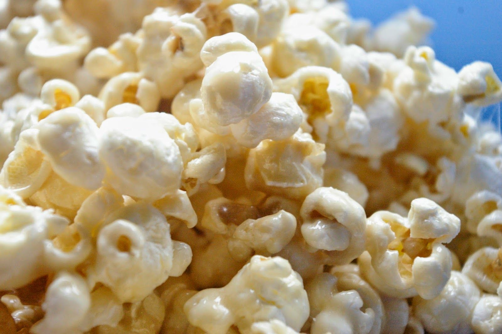 The famous (at our house) Sticky Popcorn!  1 batch of Popcorn(12 cups), 1/2 cup of butter, 1/2 cup of brown sugar, 9-12 marshmallows.  Melt, mix together, and enjoy the sweet chewiness of this naughty bowl of popcorn!