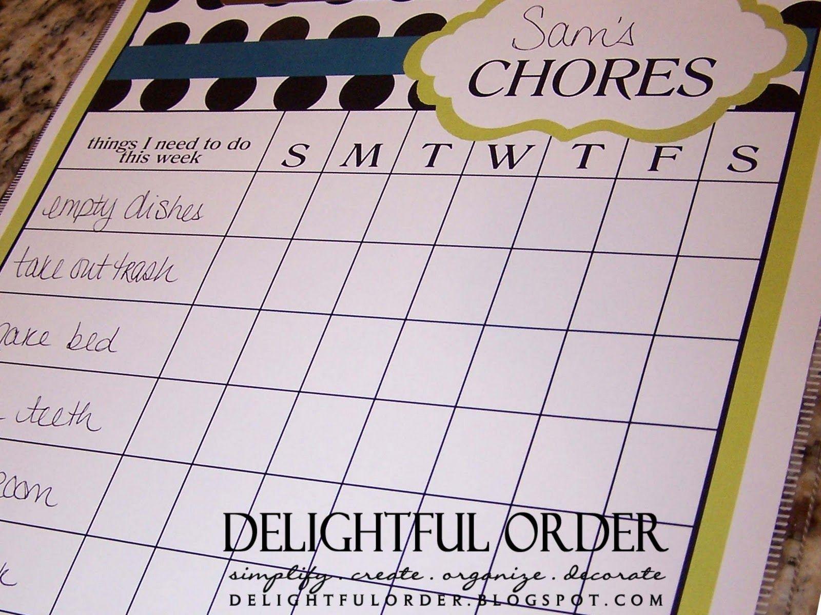 Crafty Chore Chart Ideas | find the boys charts for sale here and find the girls charts for sale ...