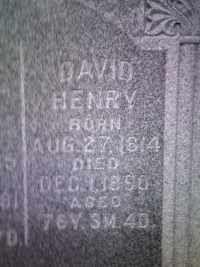David Henry, Prairie Grove Cemetery, Fort Wayne, Allen, Indiana