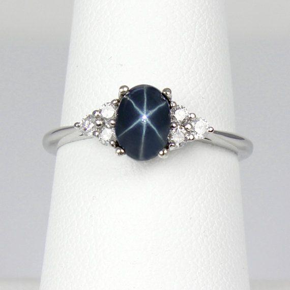 Blue Star Sapphire Ring Gold 14k White Gold Blue Star Star Sapphire Ring Blue Star Sapphire Blue Star Sapphire Ring