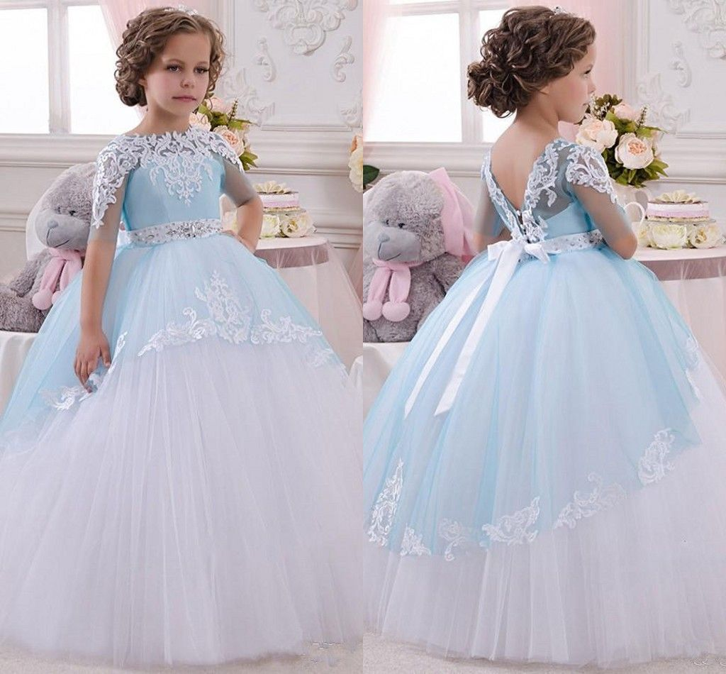 Cheap children flower girls dresses for wedding vintage blue and cheap children flower girls dresses for wedding vintage blue and white full length long skirt izmirmasajfo Images