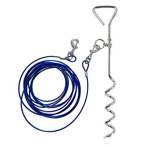 Dog Tie Out Cable, AMGlobal Dog Tie Out Carbon Steel Stake, and 16 ft Complete Leash and Tether Spiral Tie-Out Up to 60 Pound for Outdoor, Yard and Camping - Small to Medium Dogs