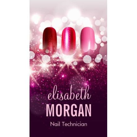 Glamorous nail technician manicurist pink beauty glitter business manicurist and nail salon business cards colourmoves Image collections