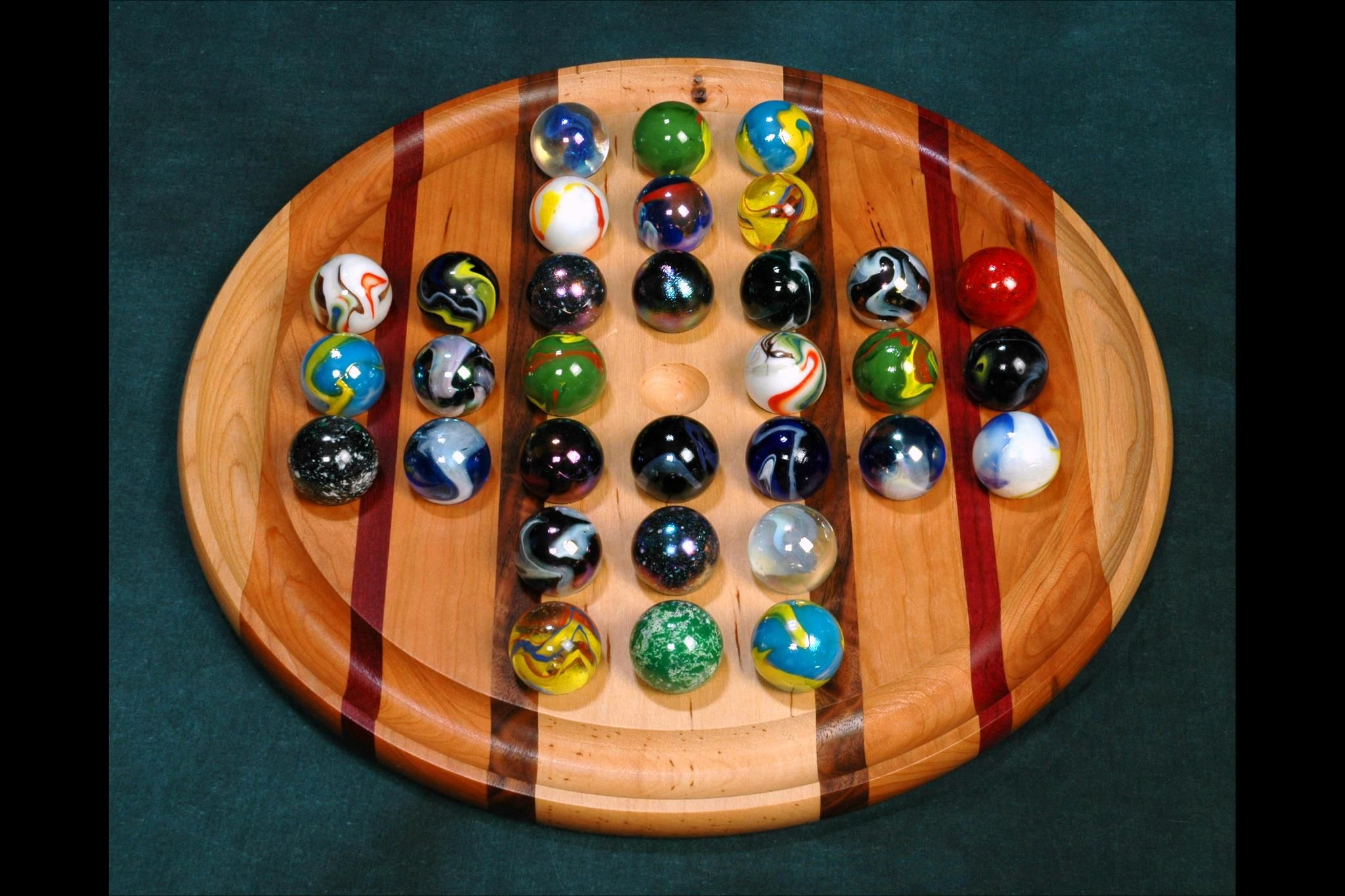 """Colossal+Marble+Solitaire+Wooden+Game+Board16"""" Marble"""