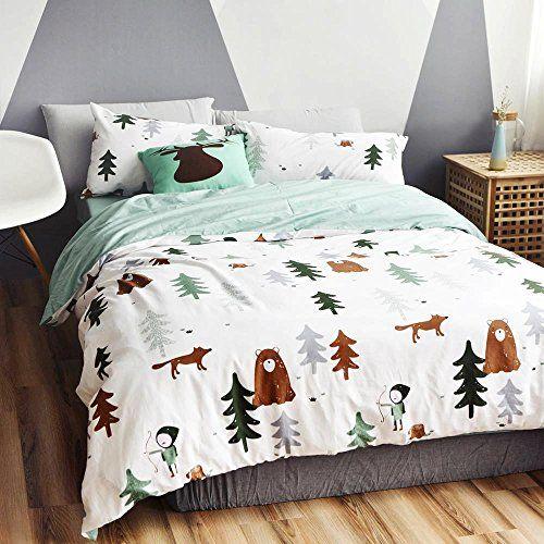 Bulutu Siberia Forest Theme Cotton Us Queen Kids Bedding