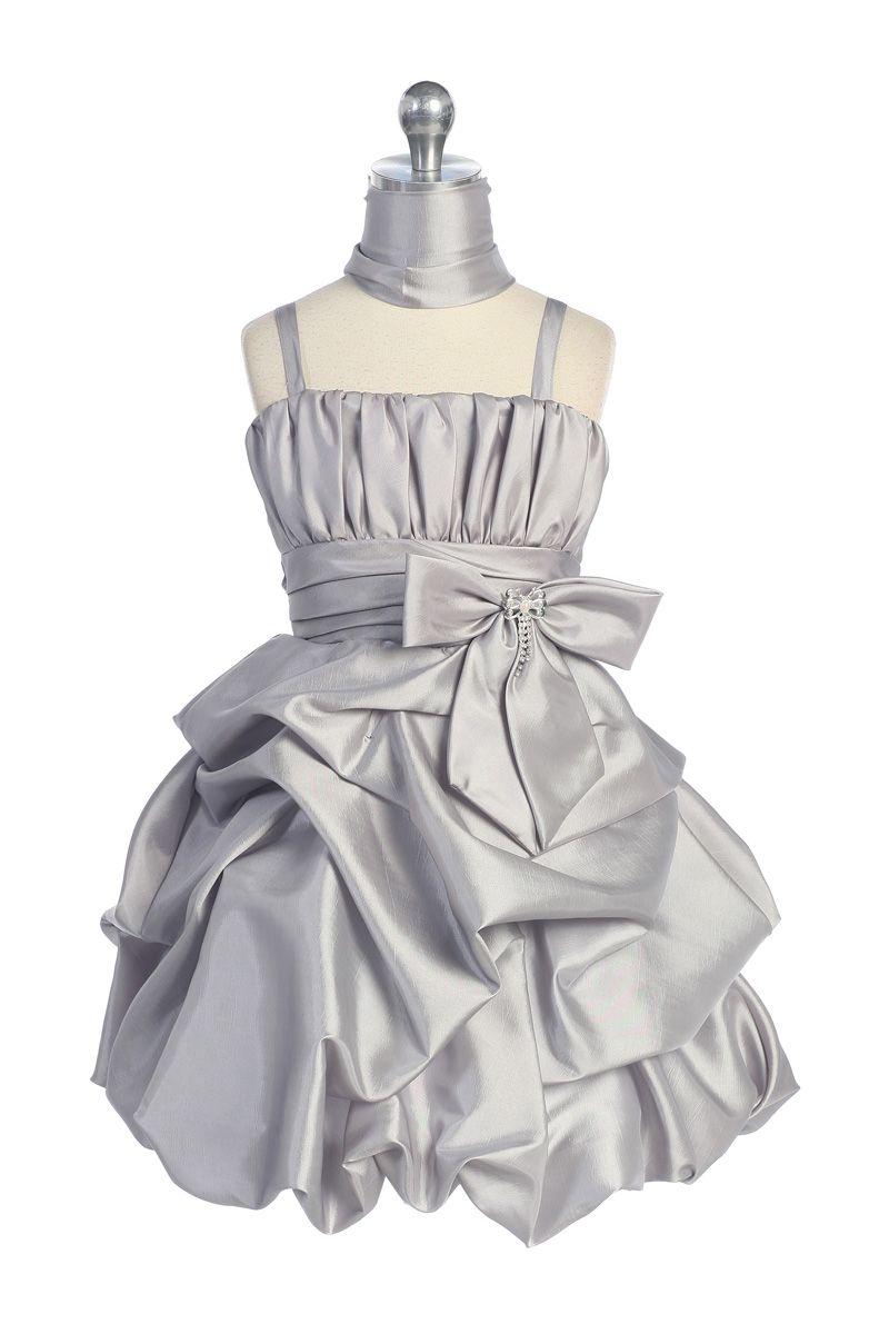 Kaylee-Grey Taffeta Pick- up Bubble Hem Short Skirt  Flower Girl Dress L4280 $51.95 on www.GirlsDressLine.Com