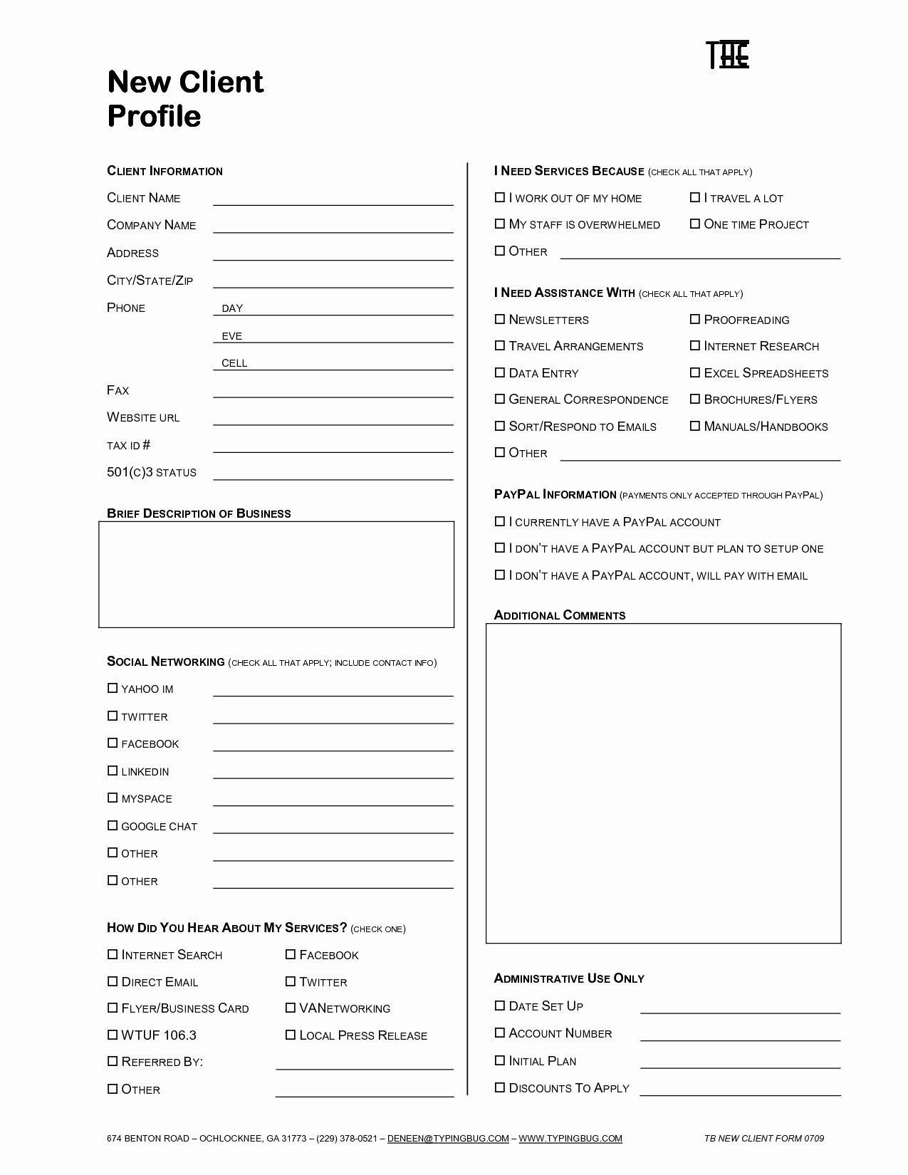 Customer Profile Form Luxury Interior Design Client