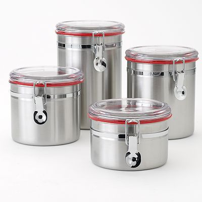 stainless steel kitchen canister food network 4 pc stainless steel kitchen canister set 22166