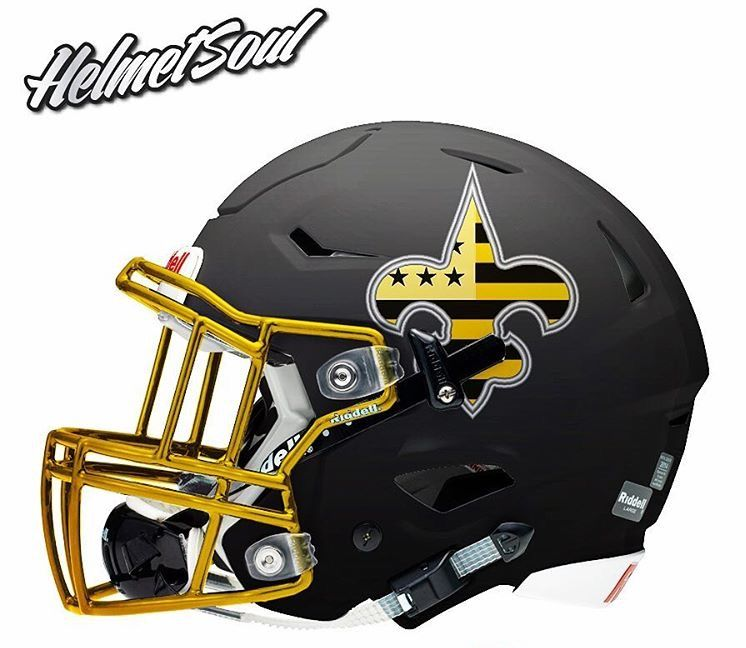 New Orleans Saints Concept Football Helmet Design On A Riddell