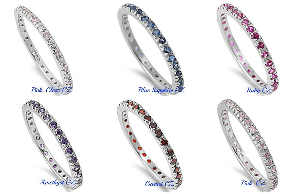 Stackable Eternity Garnet CZ Fashion Ring .925 Sterling Silver Band Sizes 4-10
