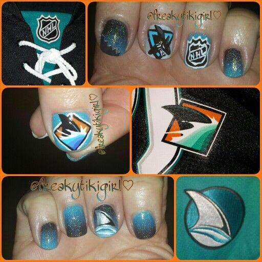 San Jose Sharks Nail Art Nails Hockey Nhl Nail Polish Shark Nail Art Football Nails San Jose Sharks Nails