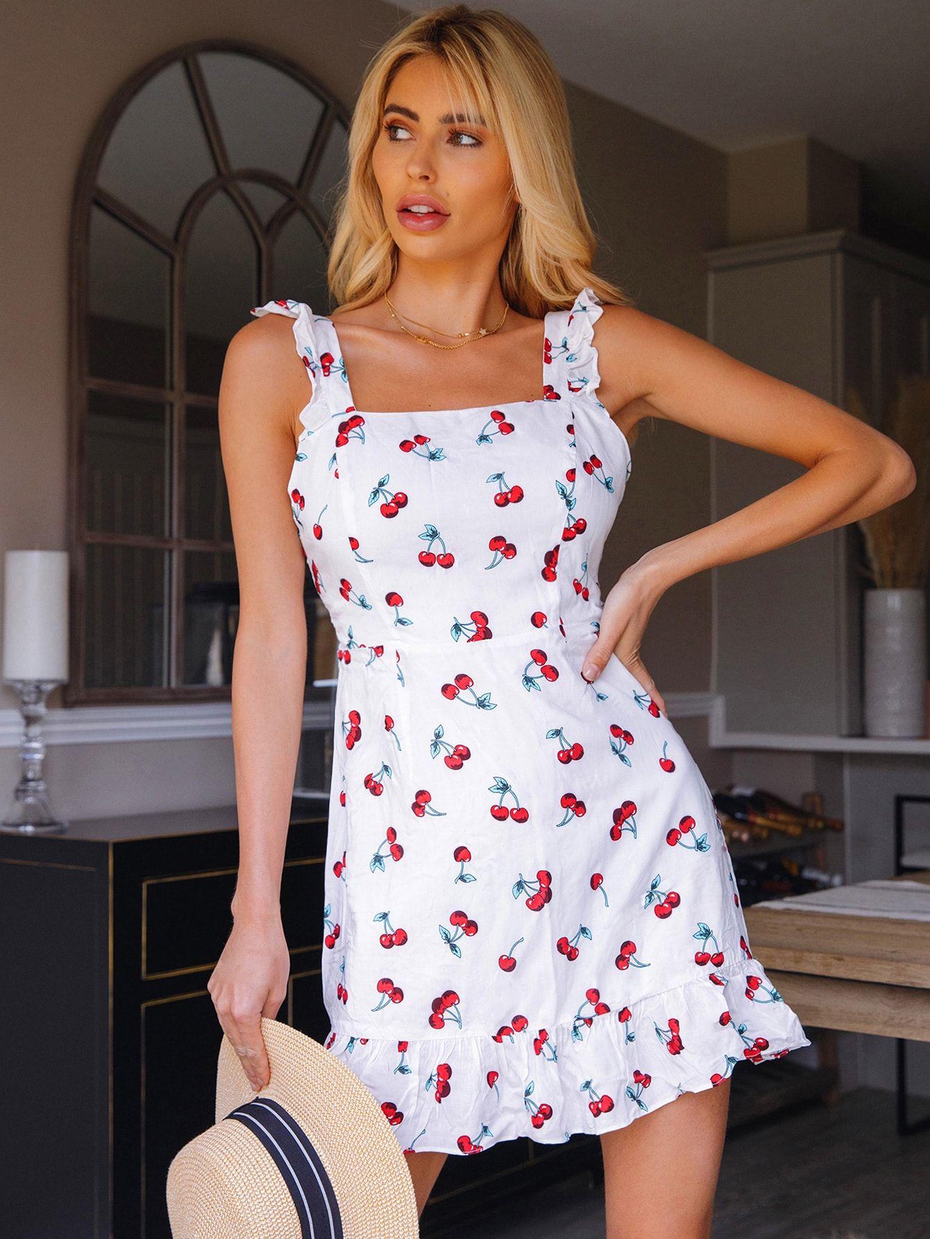 Ruffle Detail Cherry Print Dress Shein Usa Cherry Print Dress Womens Trendy Dresses Print Dress [ 1785 x 1340 Pixel ]