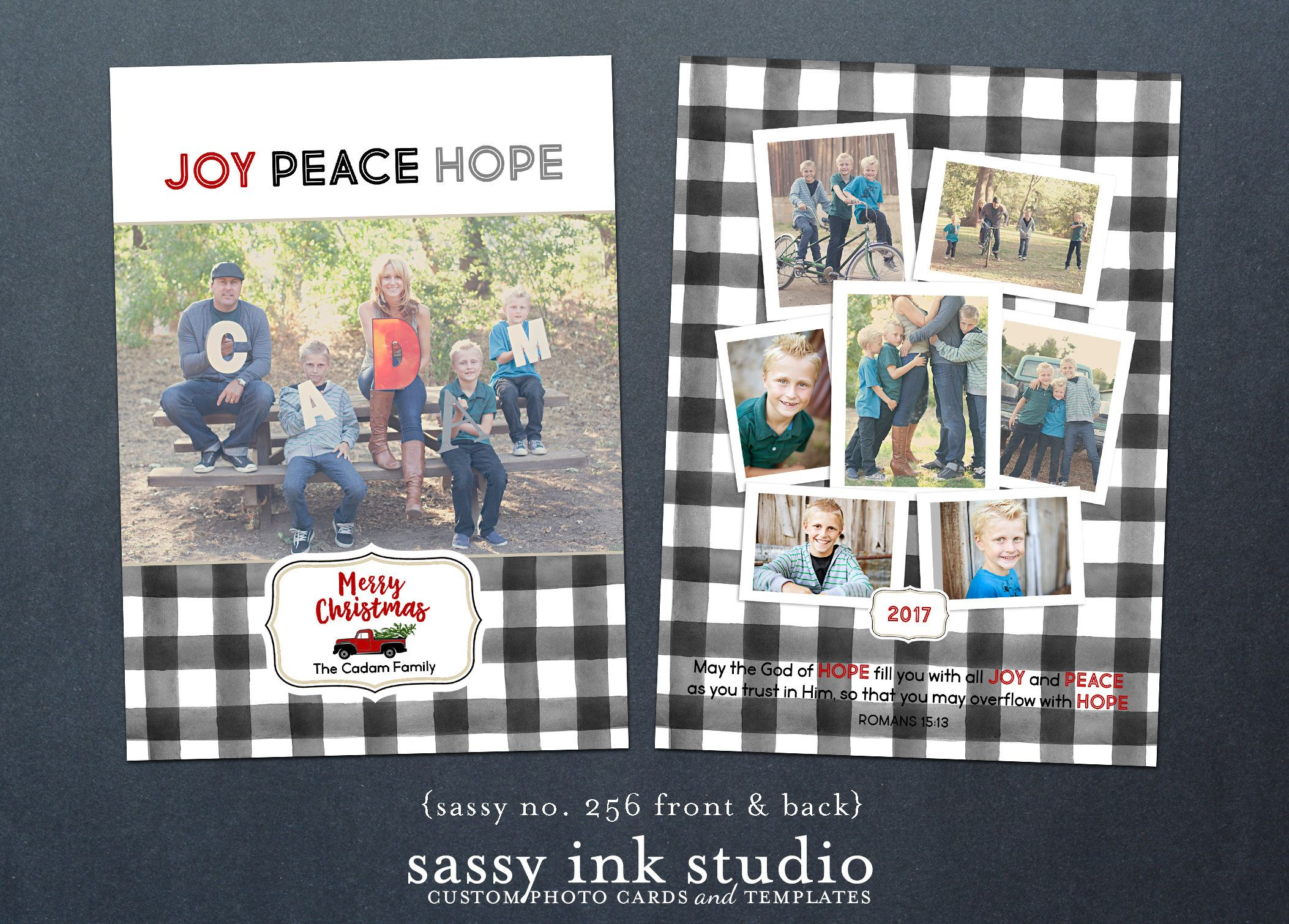 Joy Peace Love Buffalo Plaid Christmas Card Customized Christmas Photo Card Printable H Custom Christmas Cards Printable Holiday Card Christmas Photo Cards