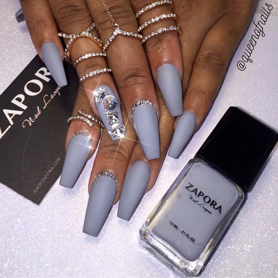 Zapora Nail color coffin nails | Nail designs | Pinterest | Grey ...