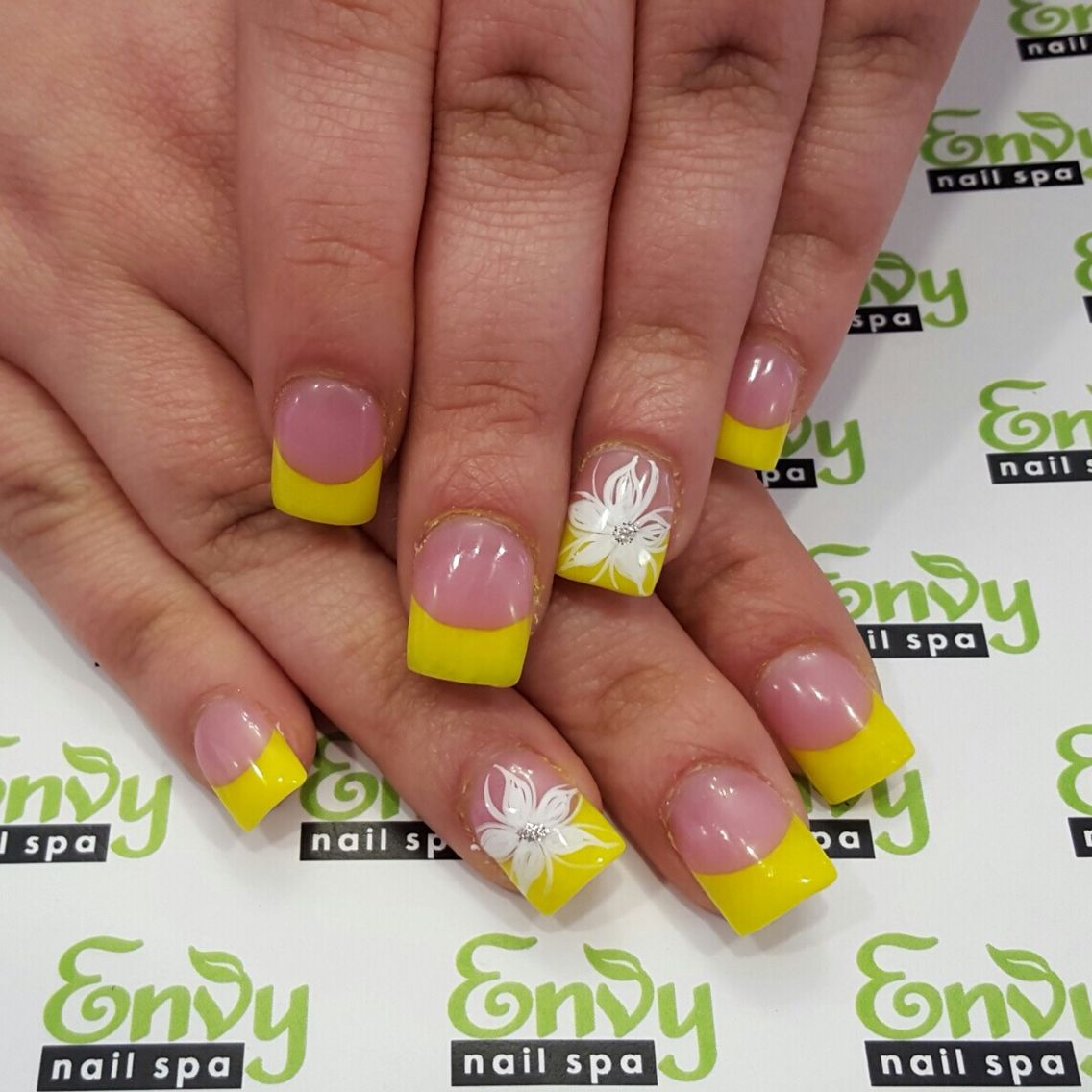 Yellow French Tips, White Flowers Nails - Envy Nail Spa | Flowers ...
