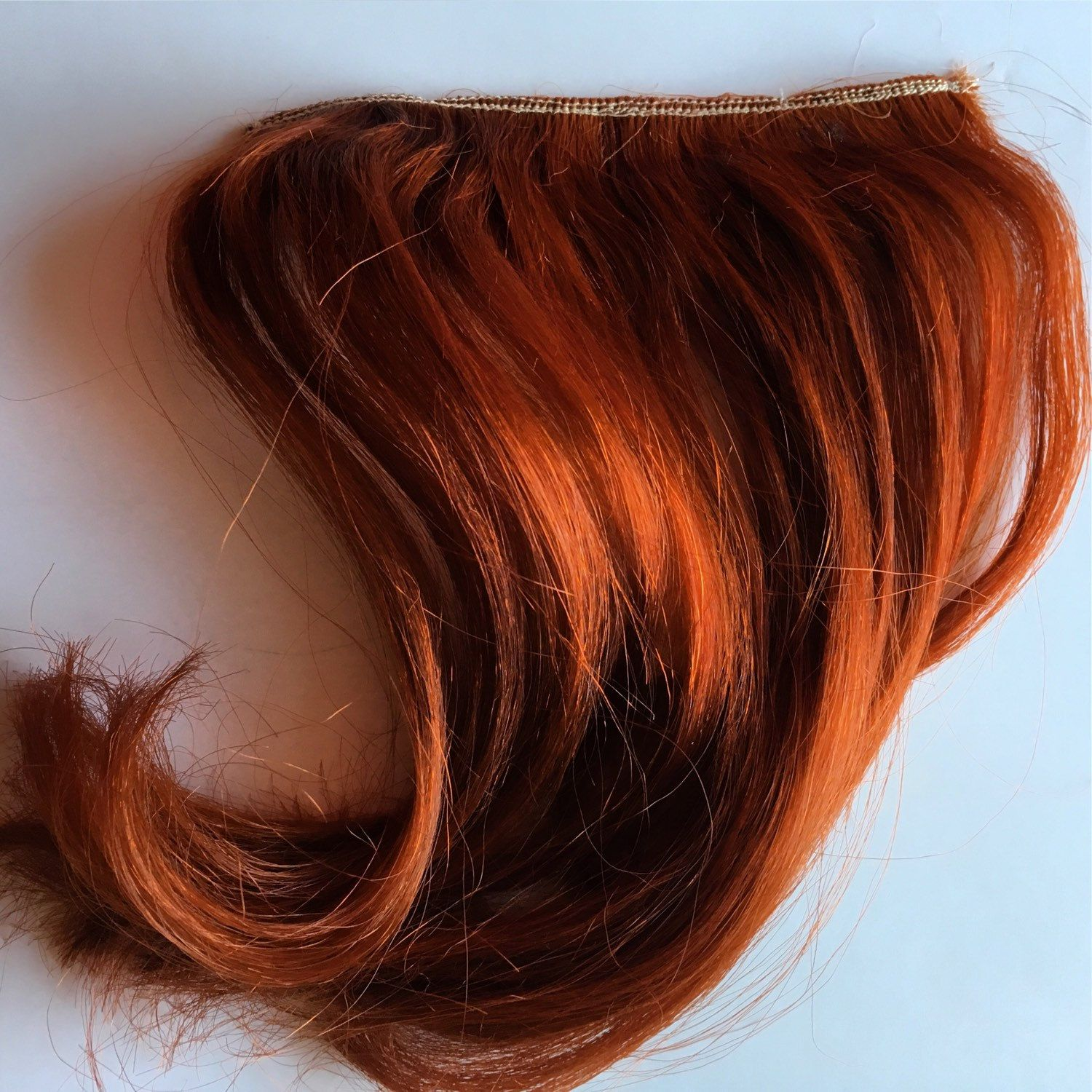 Copper Red Auburn Clip In Human Hair Extensions Bangs Fringe With
