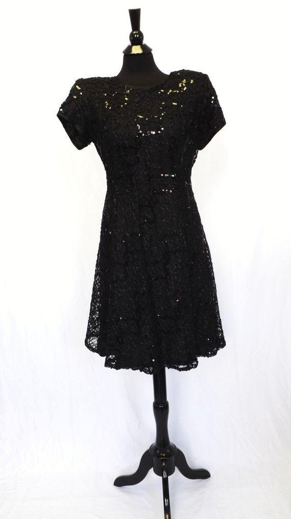 5cca1335 Vintage 80s 90s Jeffrey & Dara Sexy Little Black Dress Sequin Lace Dancing  Cocktail Short Size Medium Party Prom Punk Grunge Shirt Dress