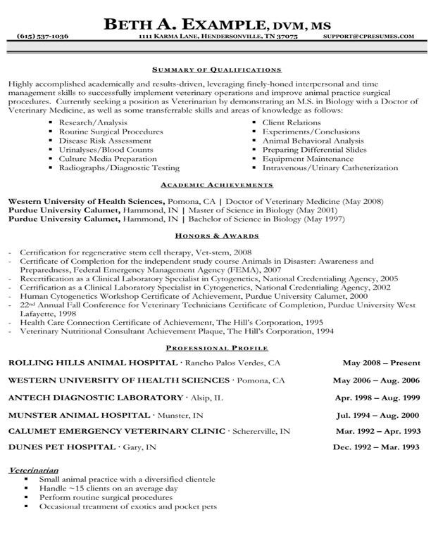 Resume Sample For Veterinary Assistant