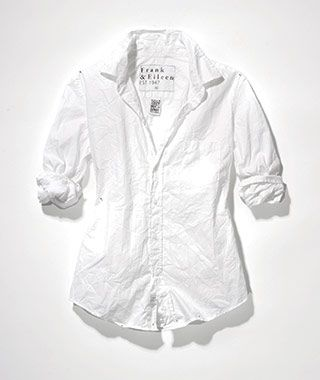 What to Wear on Your Honeymoon: Frank & Eileen Italian cotton shirt [Wrinkles are part of the design of this Frank & Eileen Italian cotton shirt ($178), so it can be worn with ease.]